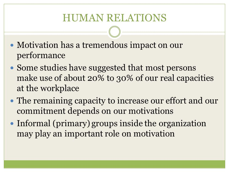 HUMAN RELATIONS Motivation has a tremendous impact on our performance