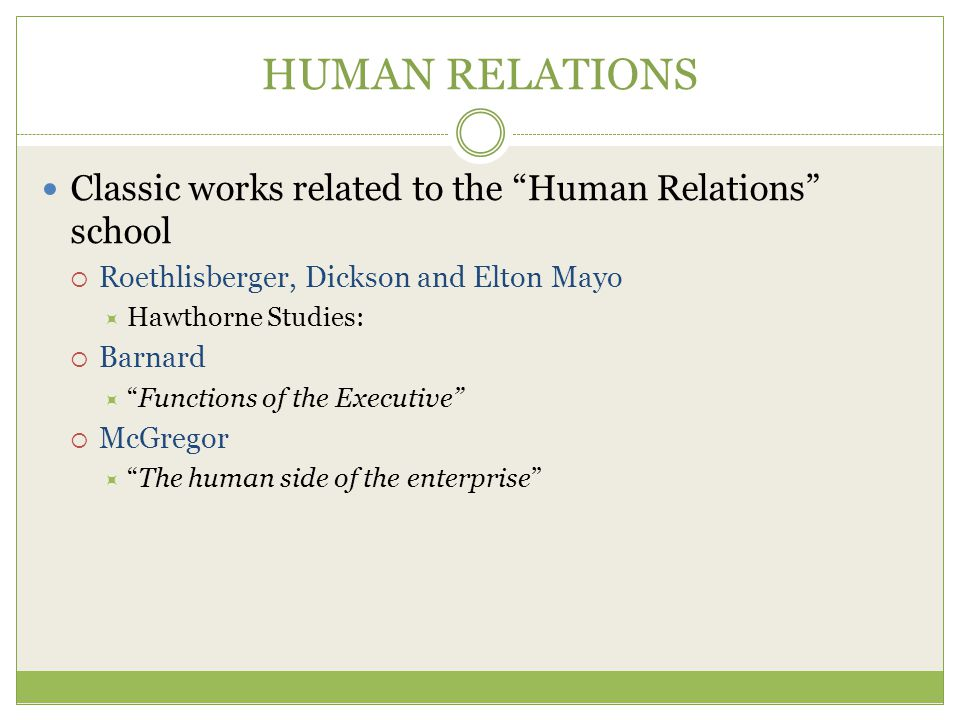 HUMAN RELATIONS Classic works related to the Human Relations school