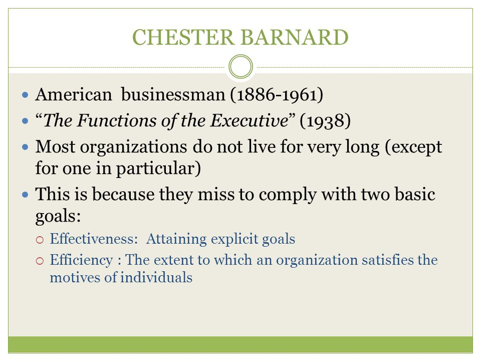 CHESTER BARNARD American businessman (1886-1961)