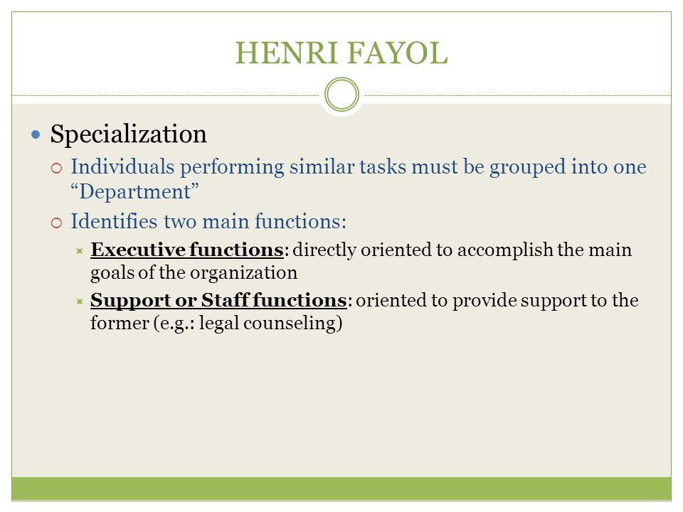 HENRI FAYOL Specialization