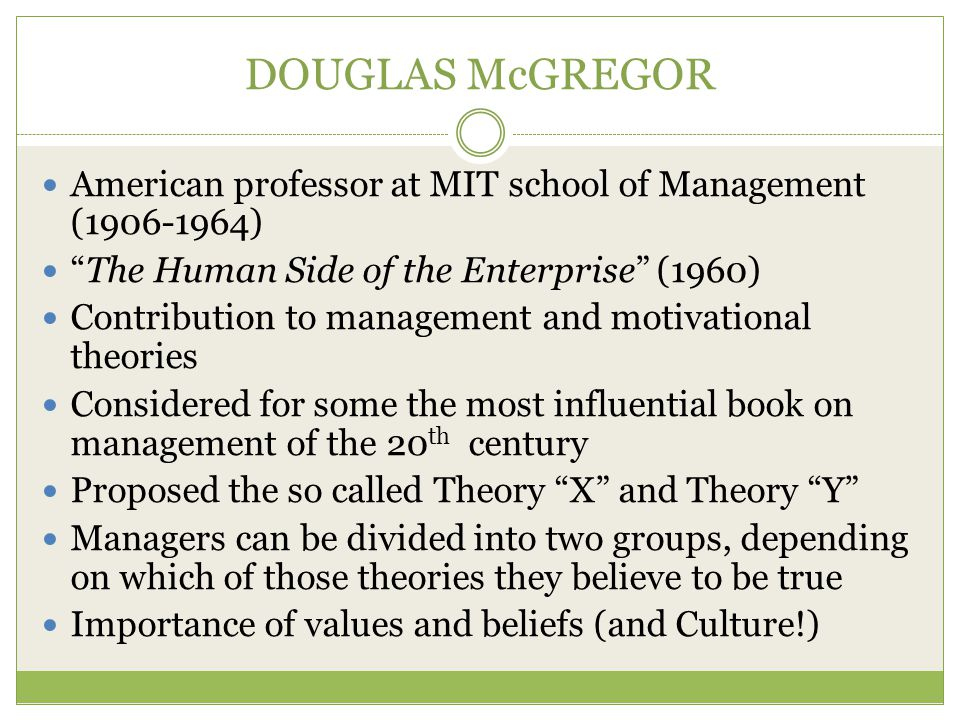 DOUGLAS McGREGOR American professor at MIT school of Management (1906-1964) The Human Side of the Enterprise (1960)