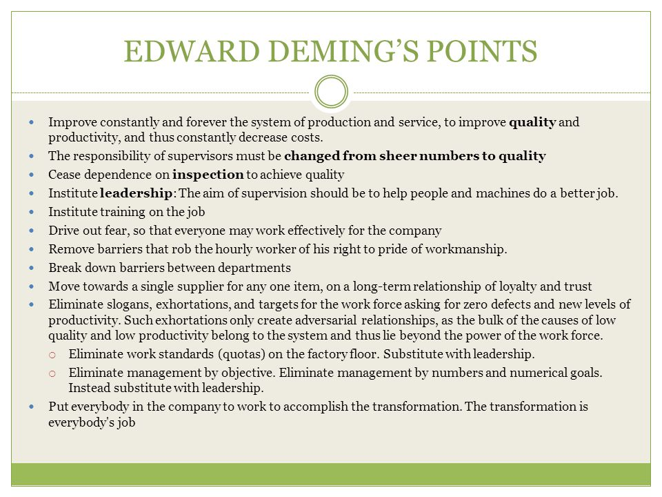 EDWARD DEMING'S POINTS