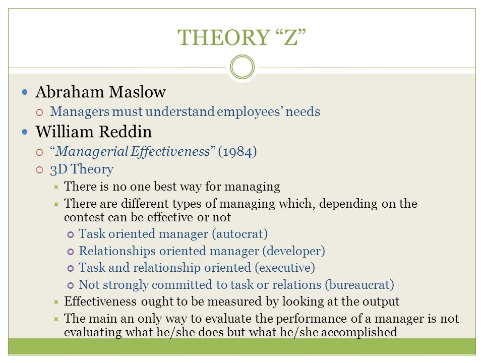THEORY Z Abraham Maslow William Reddin