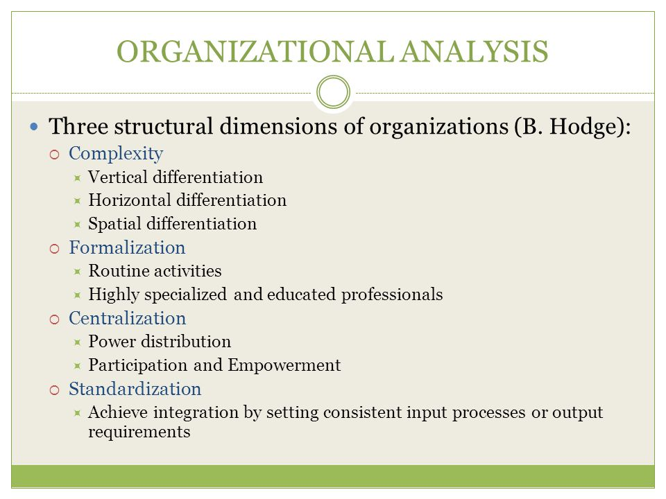 ORGANIZATIONAL ANALYSIS