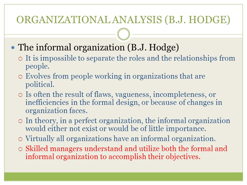 ORGANIZATIONAL ANALYSIS (B.J. HODGE)