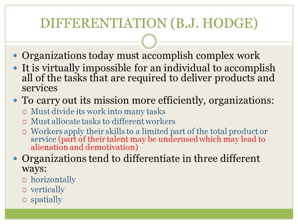 DIFFERENTIATION (B.J. HODGE)