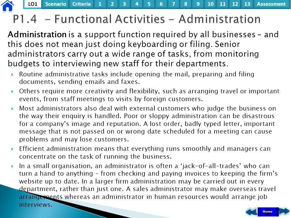 P1.4 - Functional Activities - Administration