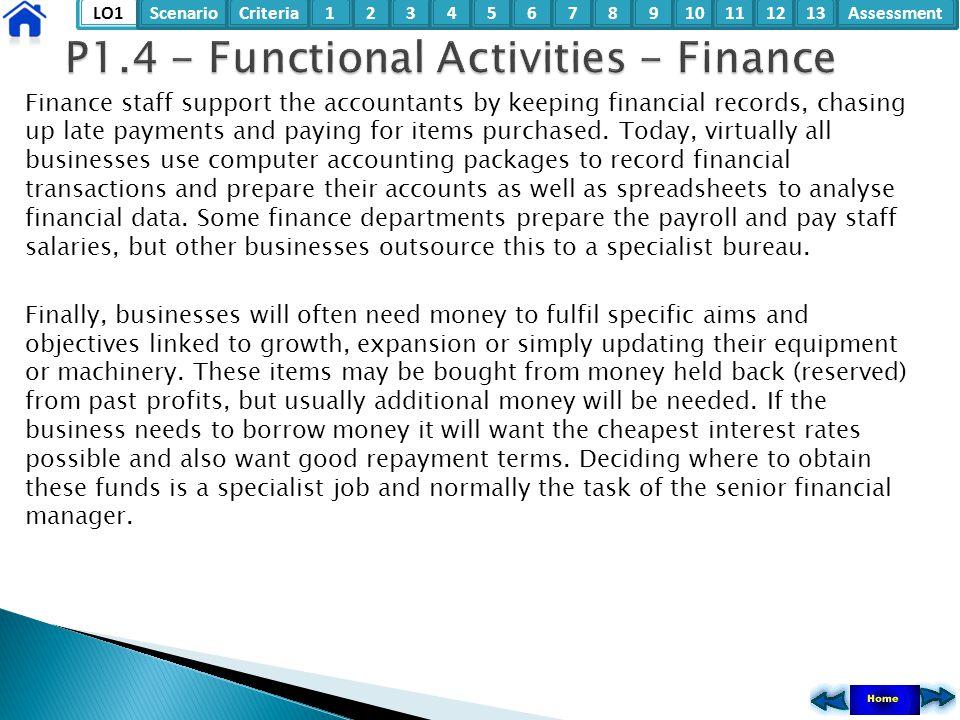 P1.4 - Functional Activities - Finance