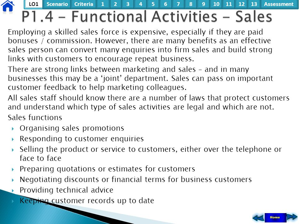 P1.4 - Functional Activities - Sales