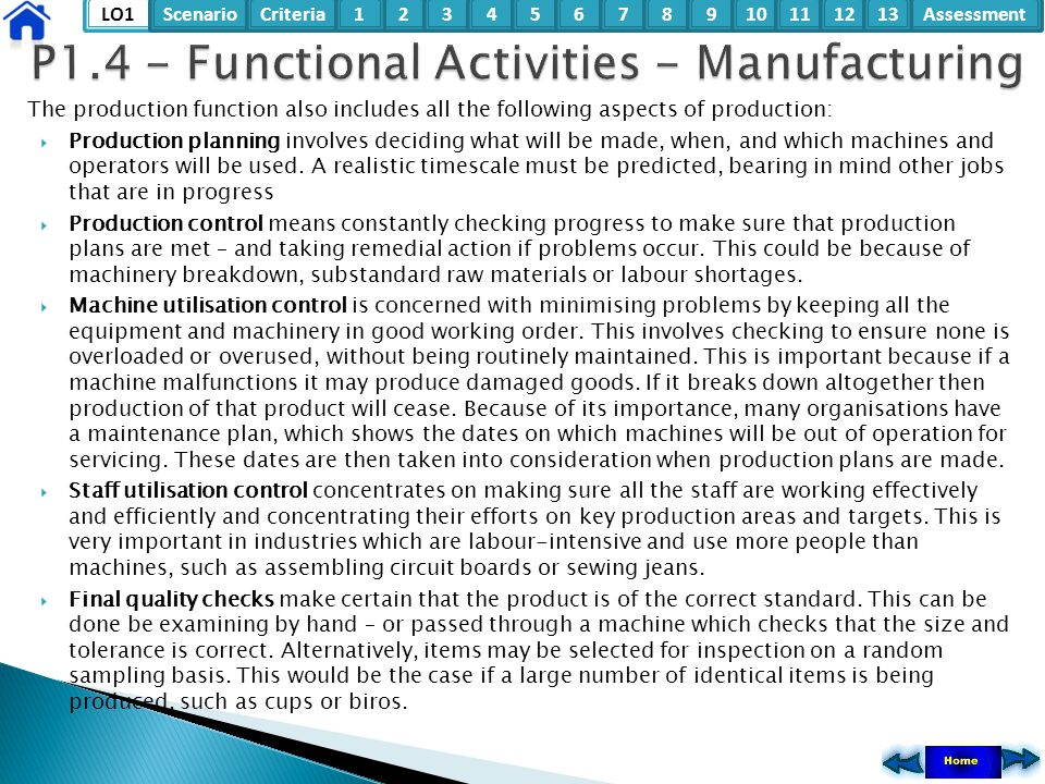 P1.4 - Functional Activities - Manufacturing