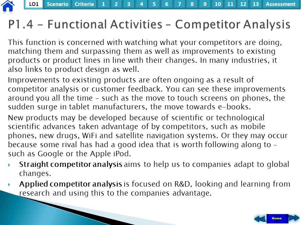 P1.4 - Functional Activities – Competitor Analysis