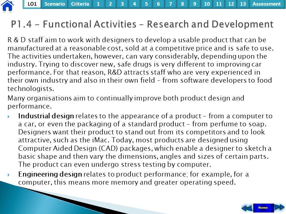 P1.4 - Functional Activities – Research and Development