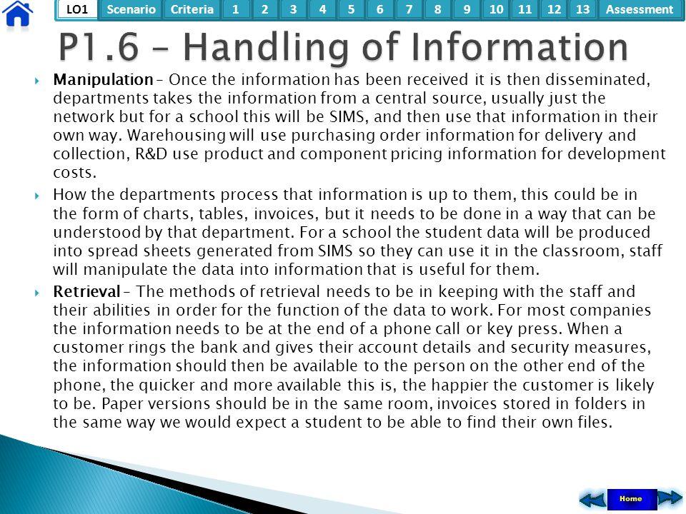 P1.6 – Handling of Information