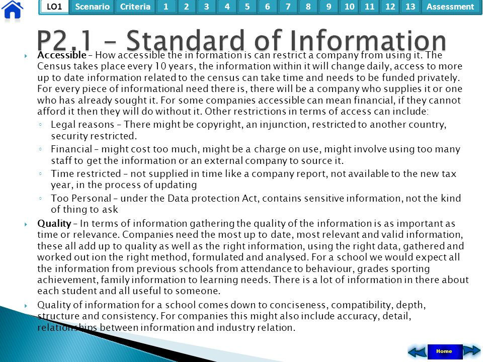 P2.1 – Standard of Information