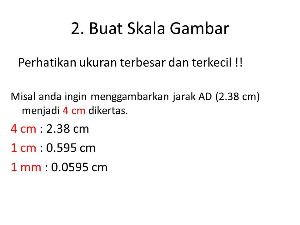 2. Buat Skala Gambar Perhatikan ukuran terbesar dan terkecil !!