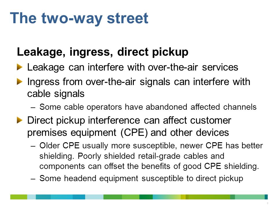 The two-way street Leakage, ingress, direct pickup