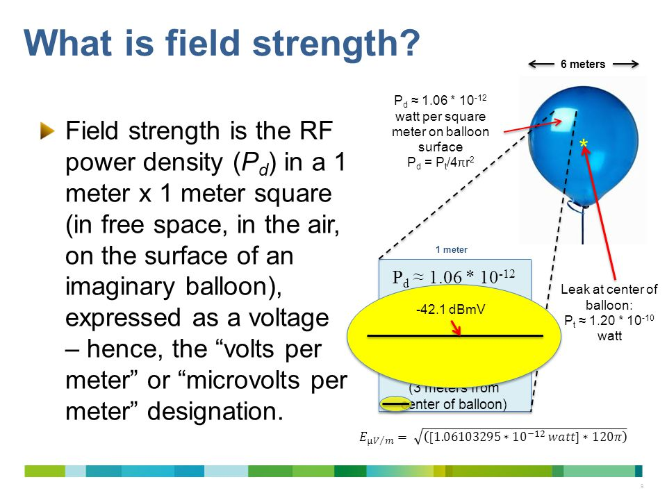 What is field strength 6 meters. Pd ≈ 1.06 * 10-12 watt per square meter on balloon surface. Pd = Pt/4πr2.