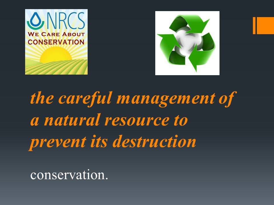 the careful management of a natural resource to prevent its destruction