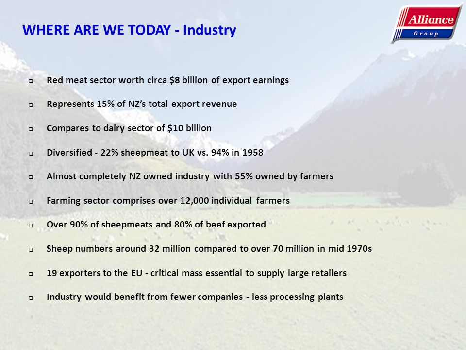 WHERE ARE WE TODAY - Industry