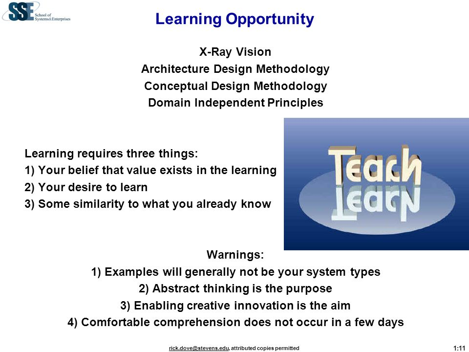 Learning Opportunity X-Ray Vision Architecture Design Methodology