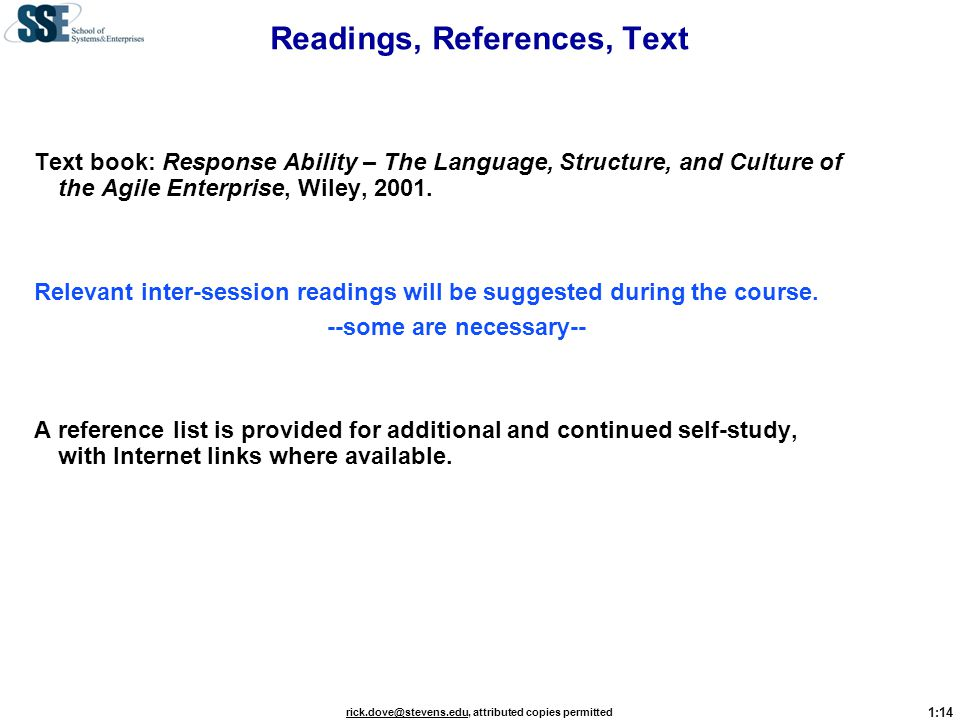 Readings, References, Text
