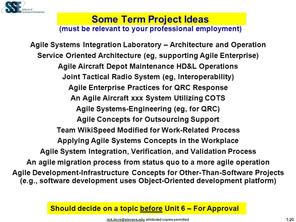 Some Term Project Ideas (must be relevant to your professional employment)