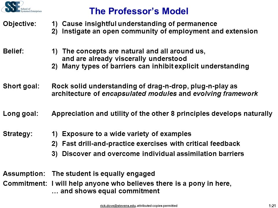 The Professor's Model Objective: 1) Cause insightful understanding of permanence 2) Instigate an open community of employment and extension.
