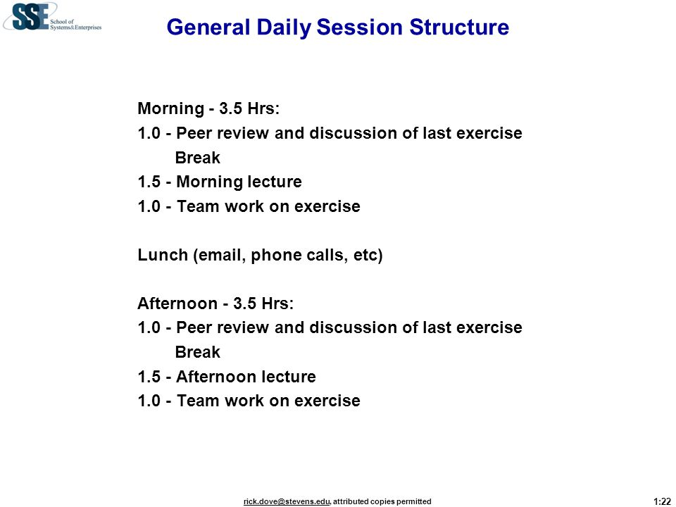 General Daily Session Structure