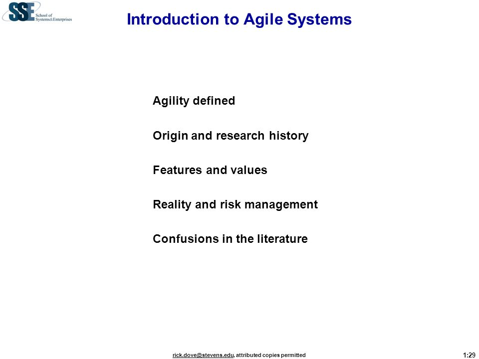 Introduction to Agile Systems