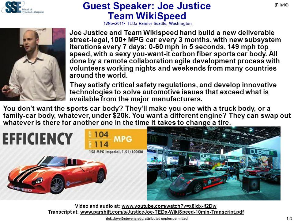 Guest Speaker: Joe Justice Team WikiSpeed 12Nov2011• TEDx Rainier Seattle, Washington