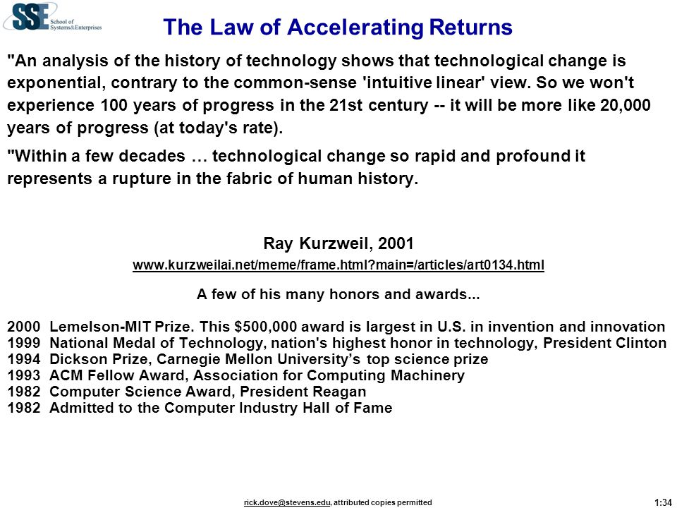 The Law of Accelerating Returns