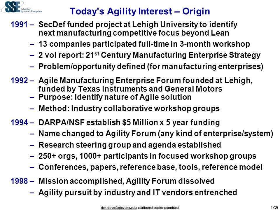Today s Agility Interest – Origin