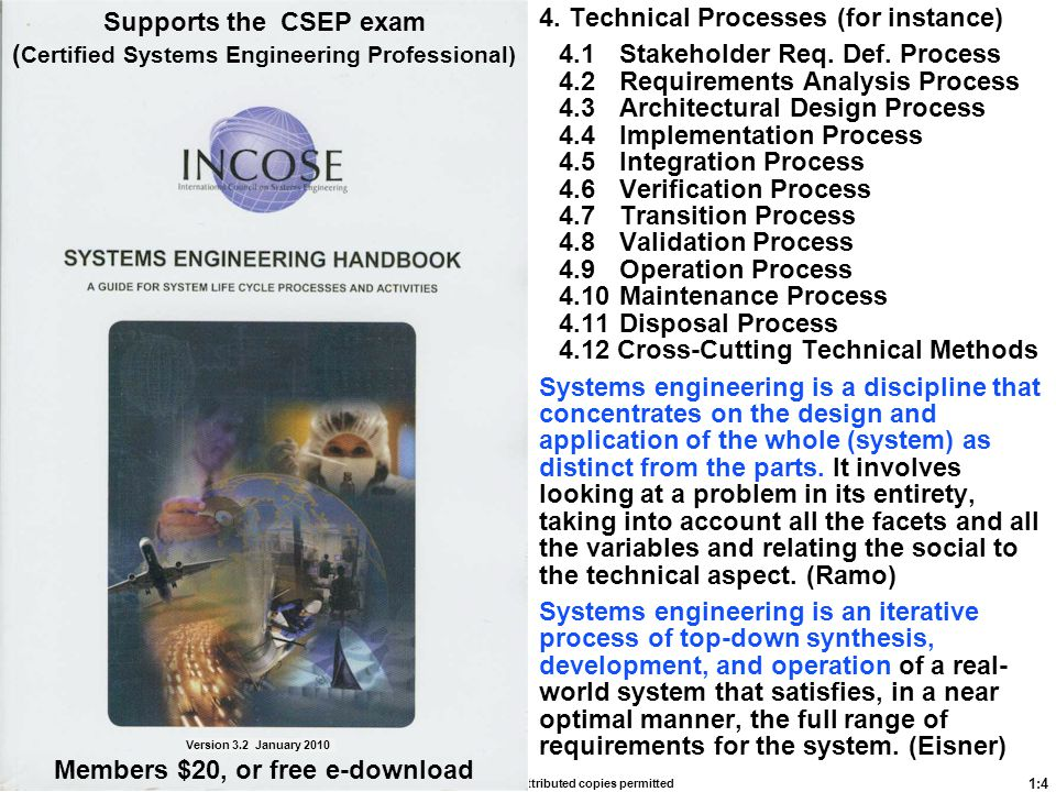 Supports the CSEP exam (Certified Systems Engineering Professional)
