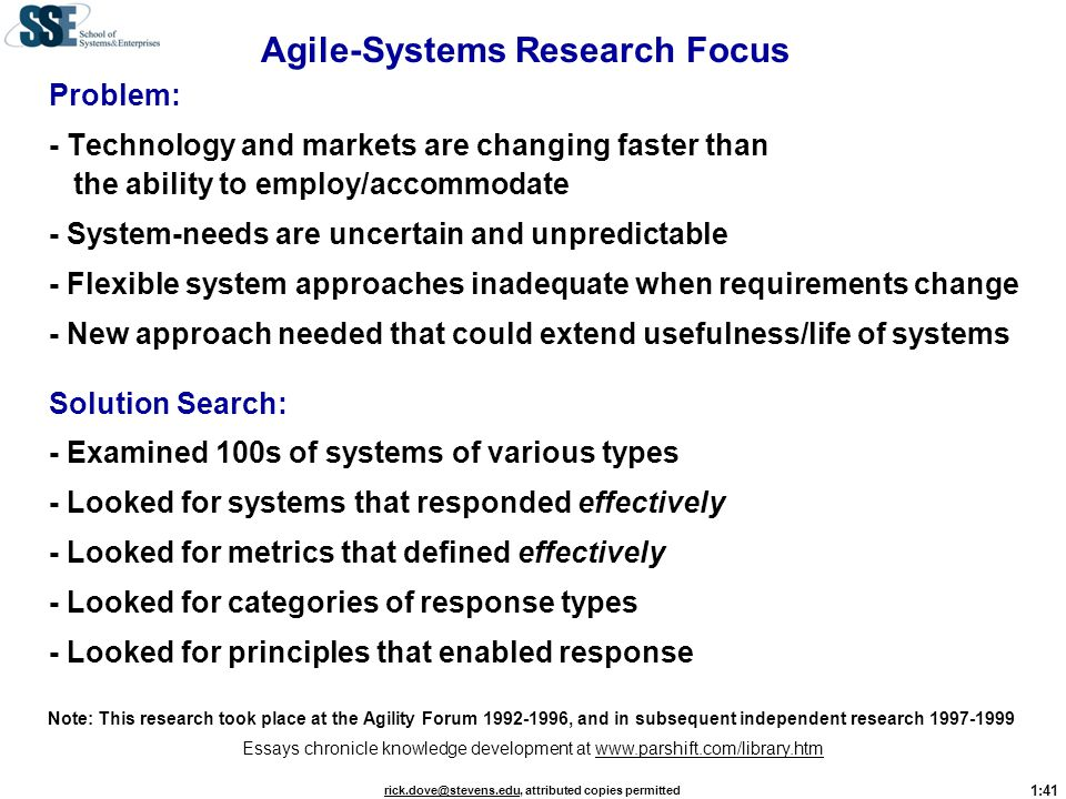 Agile-Systems Research Focus