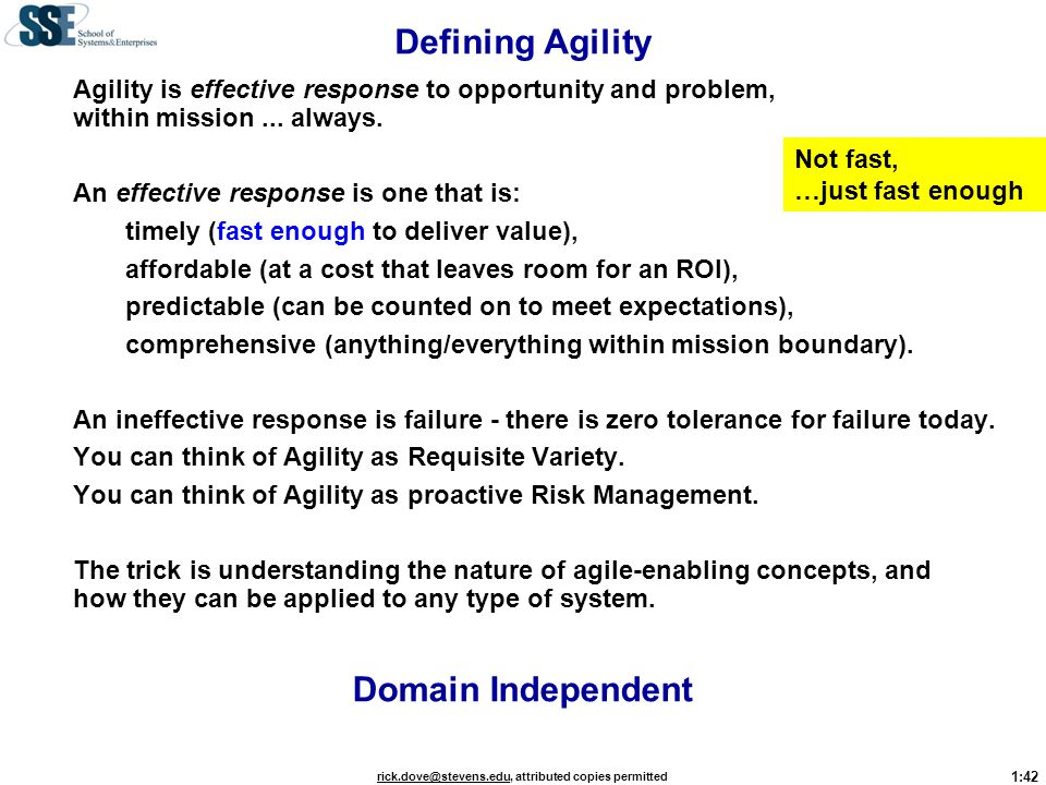Defining Agility Domain Independent