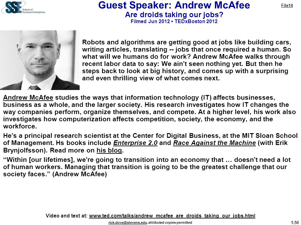 Guest Speaker: Andrew McAfee Are droids taking our jobs