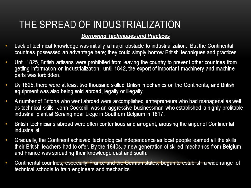 The spread of industrialization