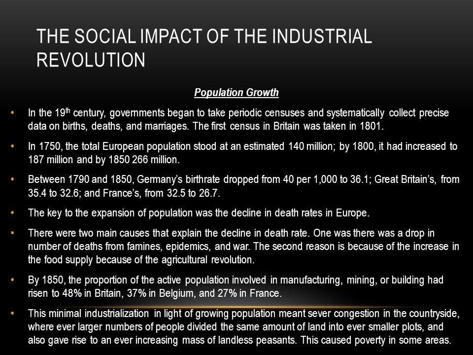 The social impact of the industrial revolution