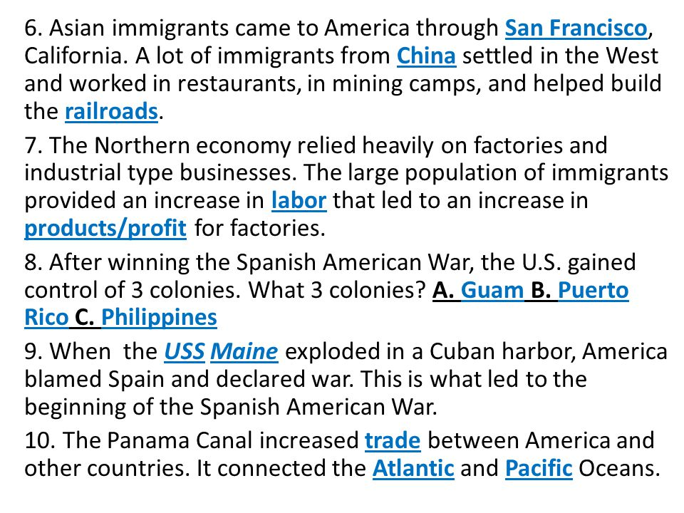 6. Asian immigrants came to America through San Francisco, California