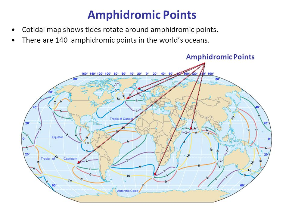 Amphidromic Points Cotidal map shows tides rotate around amphidromic points. There are 140 amphidromic points in the world's oceans.