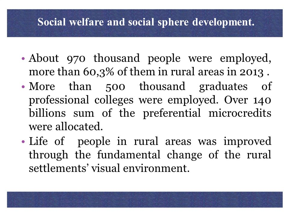 Social welfare and social sphere development.