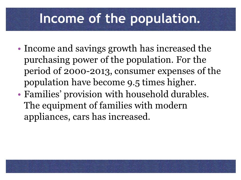 Income of the population.