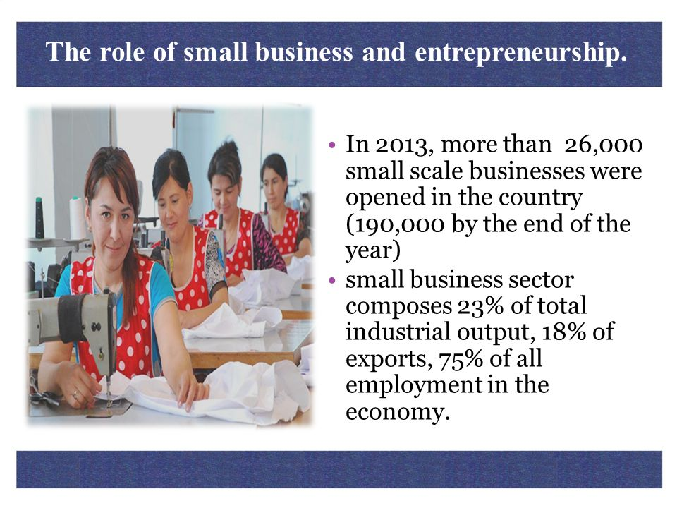 The role of small business and entrepreneurship.