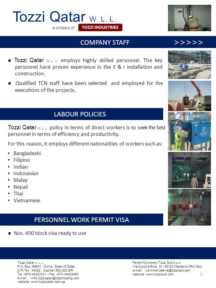 Tozzi Qatar W . L . L . COMPANY STAFF >>>>>