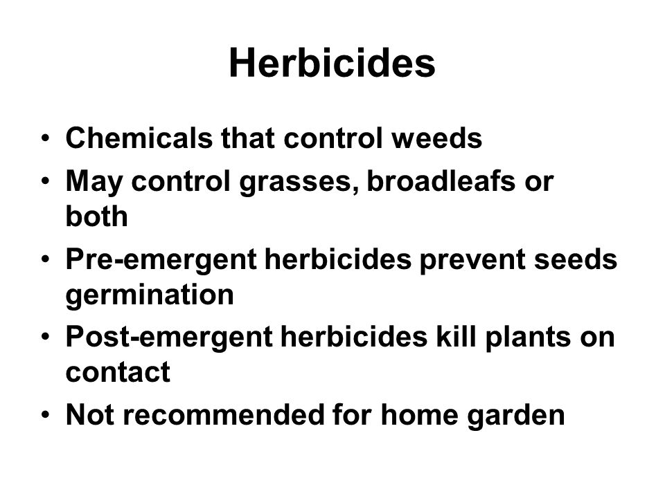 Herbicides Chemicals that control weeds