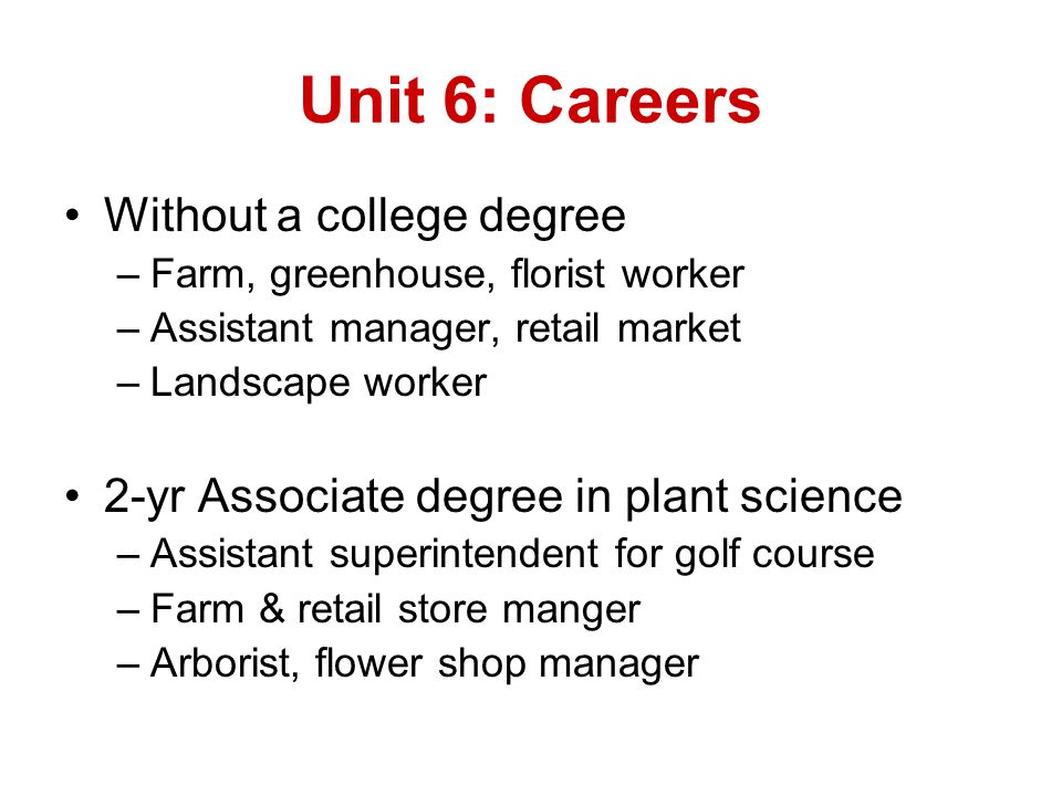 Unit 6: Careers Without a college degree