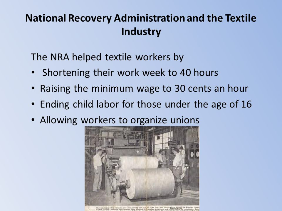 National Recovery Administration and the Textile Industry