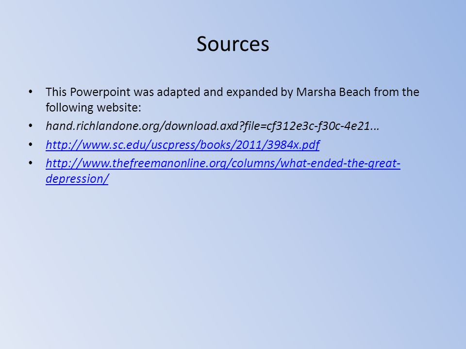 Sources This Powerpoint was adapted and expanded by Marsha Beach from the following website: