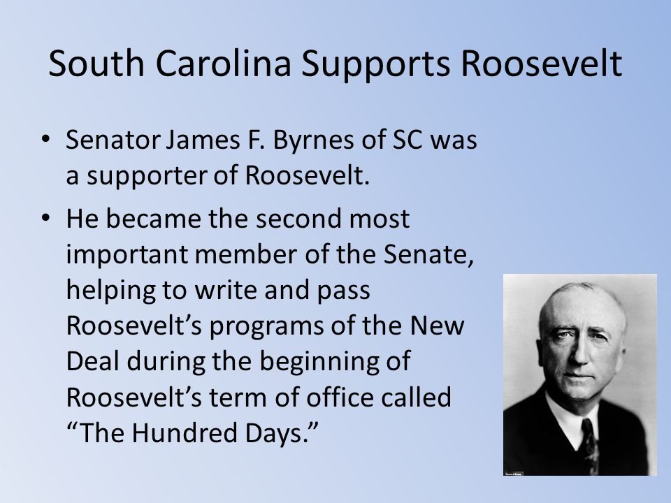South Carolina Supports Roosevelt