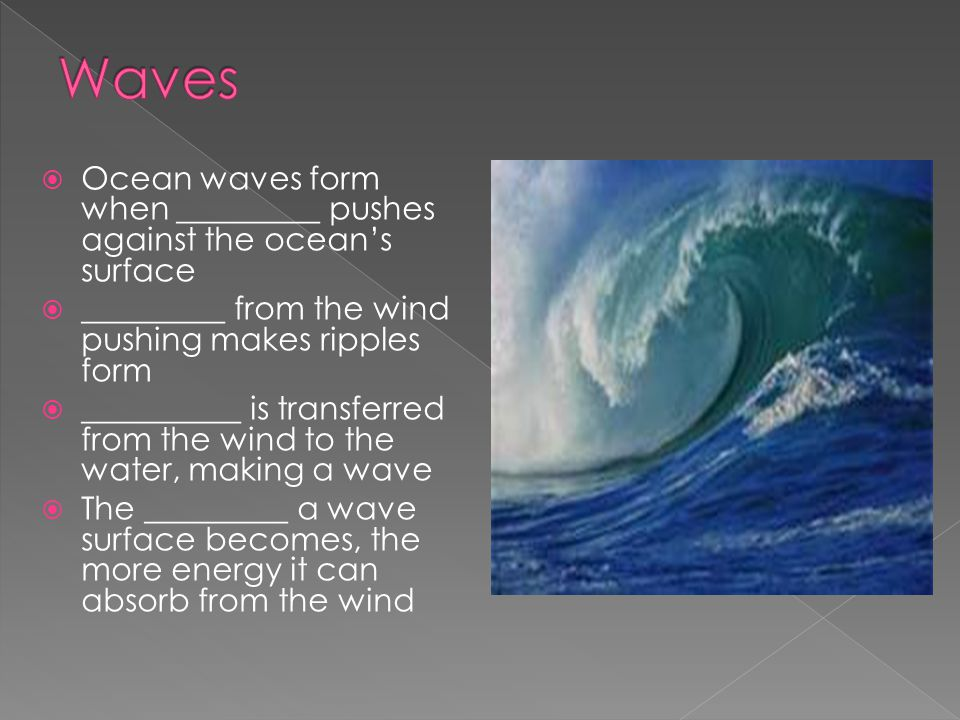 Waves Ocean waves form when _________ pushes against the ocean's surface. _________ from the wind pushing makes ripples form.